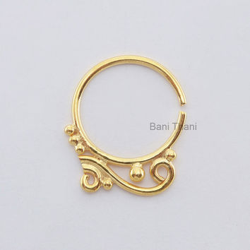Beautiful Designer Gold Plated 925 Sterling Silver Nose Ring, Septum Piercing jewelry Real Tribal Septum - #6734
