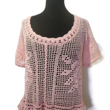 lace crochet rose womens blouse with half sleeves, size medium
