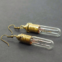 Steampunk Jewelry Upcycled Brass Light Bulb Earrings by Tanith