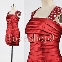 2014 Short Red Satin Beaded Prom Dress Evening Party Homecoming Bridesmaid Cocktail Formal Dress New Arrival Lovely Bridesmaid Dress
