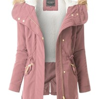 LE3NO Womens Fleece Lined Anorak Military Parka Jacket with Faux Fur Hoodie