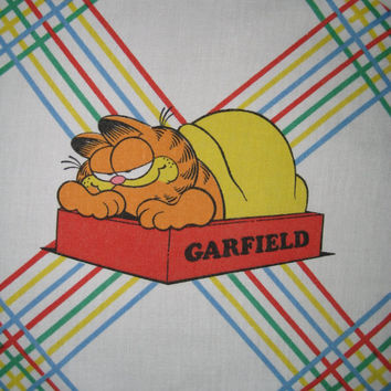 Vintage Garfield Cat Flat Bed Sheet TWIN Size Boy Girl Craft Fabric Kids Bedding Used Clean Vintage Bedding Cat Bedding Cartoon Bedding