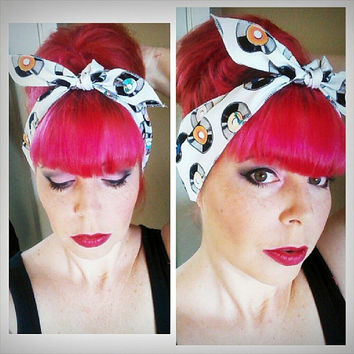Vinyl Records on white one sided WIDE Headwrap Bandana Hair Bow Tie 1950s Vintage Style - Rockabilly - Pin Up - For Women, Teens