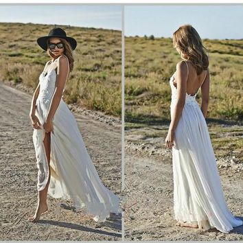 Sexy Spaghetti Strap White Backless Appliques Lace Bridal Dresses Beach Boho Wedding Dresses 2016 Summber Wedding Gowns