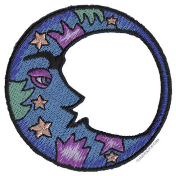 Blue Crescent Moon Patch on Sale for $3.99 at HippieShop.com