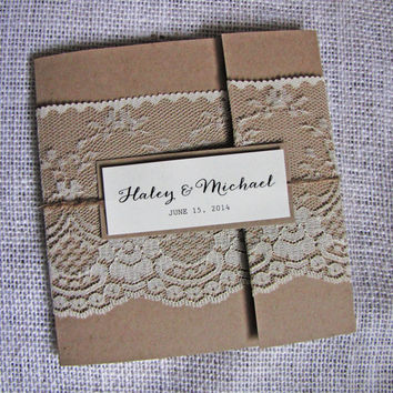 Lace Wedding Invitation,Rustic Wedding Invitation, Pocket Fold Rustic Wedding Invitation