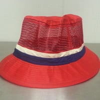 Vintage 90's Deadstock Red Paris Bucket Hat NWT New With Tags Made For Walmart Size Adult S Small