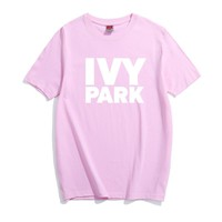 IVY PARK Letter T-shirt Summer Funny Tshirt Short Sleeve Round Neck Hipster Music Party Club Loose Fancy Graphic Tee Top