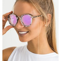 Suns Out sunglasses in cream print and purple