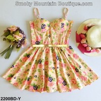 Floral Multi Color Bustier Dress with Adjustable Straps Size S/M - BDY2200 - Smoky Mountain Boutique