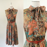 1960s teal & gold paisley print dress jersey knit ascot bow boho midi // draped russet brown white print // size M