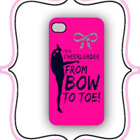 iPhone Case- Bow to Toe- iPhone 4 Case, iPhone 4s Case, Cheer Case, Custom iPhone Case
