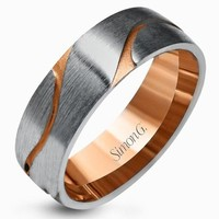 Simon G. White & Rose Gold Carved Satin Finished Wedding Band