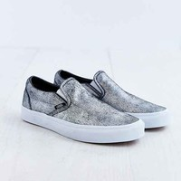 Vans Metallic Silver Slip-On Women's Sneaker- Silver