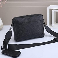 LV Louis Vuitton solid color embossed letters two-piece single-shoulder bag cosmetic bag messenger bag small purse