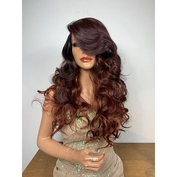 """OMBRÉ BURGUNDY BOMBSHELL . 18"""" Cute curly long body curly lace front hair wig #6 Side Part Bangs with lots of body!"""