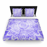 "Nika Martinez ""Boho Flower Mandala in Purple"" Lavender Woven Duvet Cover"