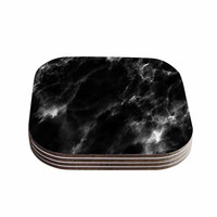 "Chelsea Victoria ""Black Marble"" Modern White Coasters (Set of 4)"