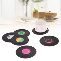 6 Pcs/ set Home Table Cup Mat Creative Decor Coffee Drink Placemat Tableware Spinning Retro Vinyl CD Record Drinks Coasters
