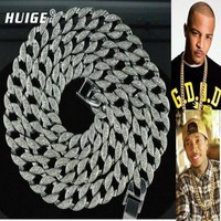 Hip Hop Bling Iced out Rhinestone Cuban Chain 15mm*30inch Cuban Link Chain Necklace Jewelry Gold Finish Rapper's Miami Cuban