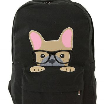 Backpack - Peeking Pup Nerdy French Bulldog Backpack