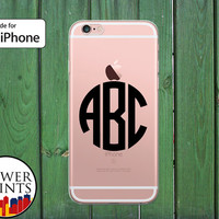 Black Monogram Letters Initials Circle Custom Clear Rubber Phone Case for iPhone 5/5s and 5c and iPhone 6 and 6 Plus + and iPhone 6s