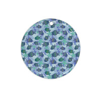 """Julia Grifol """"My Colorful Fishes"""" Blue Teal Ceramic Circle Ornament"""