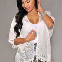 White Sheer Lace and Fringed Cardigan Kimono