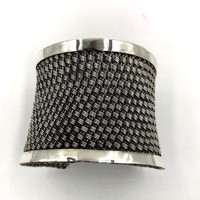 Suarti Ba Sterling Silver Weave Braided Cuff Bracelet X-L Vintage