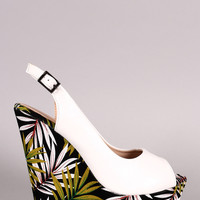 Liliana Tropical Peep Toe Slingback Platform Wedge