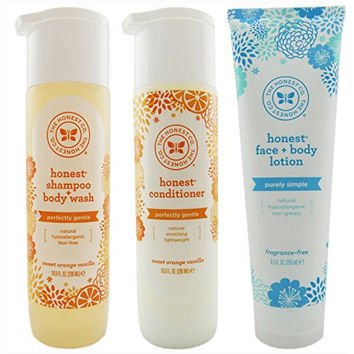 The Honest Company Shampoo Body Wash (10 Ounces) + Conditioner (10 Ounces) + Face and Body Lotion (8.5 Ounces) Set of 3