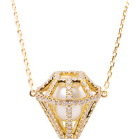 Diamond, pearl and gold pendant necklace | Melanie Georgacopou...