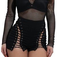 2017 Summer Sexy Lace Up Eyelets Black Shorts High Waist Bandage Zipper Women Short Femme Party Beach Office Feminino Shorts