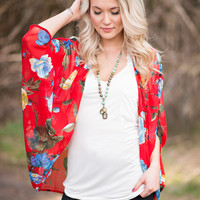 Time To Waste Floral Printed Kimono Cardigan (Red)