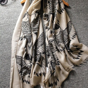 Ladies Scarf Bird Printed Wraps Twill Cotton Pashmina for Women Shawls and Scarves 185*100cm = 1957958212