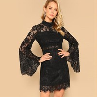Black Floral Lace Overlay Flare Sleeve Stand Collar Slim Short Dress Women Solid Sexy Party Pencil Dresses