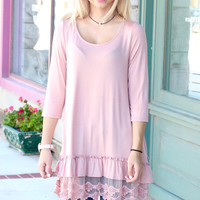 Ruffled My Lace Tunic Top {Dusty Pink}