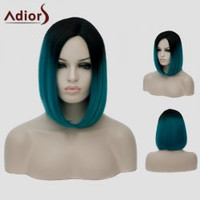 Stylish Short Straight Synthetic Black Ombre Blackish Green Capless Lolita Women's Cosplay Wig