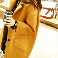 2014 fall and winter clothes women's wool coat Slim large size Korean version of the new long section thick woolen coat tidal ran