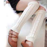 Japanese Socks Women Long Knitted Winter Cover Boot Socks Solid Warm Leg Winter Outwear Socks Calcetines Mujer#A127 SM6
