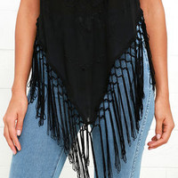 Grasslands Black Embroidered Fringe Top