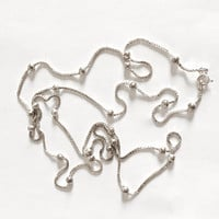Long and Lovely Hallmarked Italy, Sterling Silver 36 Inch Box Chain with Silver Ball Accents, Sparkling and Stackable Chain