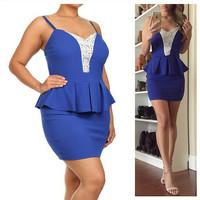 Jeweled Bodycon Peplum Dress - Blue - Plus Size - 1x - 2x - 3x