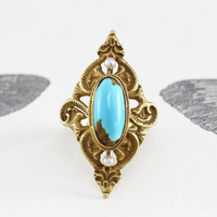 Antique Art Nouveau Turquoise & Pearl Ring, Victorian 14k Art Nouveau Yellow Gold Bohemian Cocktail Statement Ring, December Birthstone