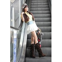 Back Lace Up Flats Knee High Boots Wedge Heels 6494