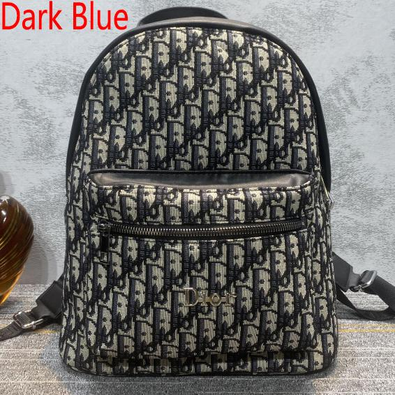 Image of Christian Dior new embroidered letters large-capacity shopping backpack school bag daypack Dark Blue