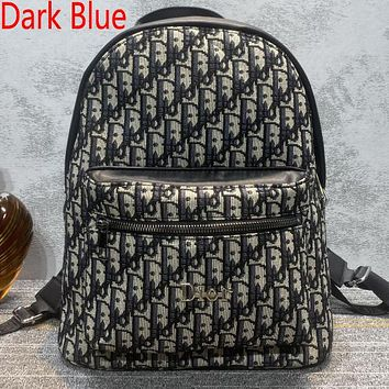Christian Dior new embroidered letters large-capacity shopping backpack school bag daypack Dark Blue