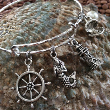 Dreaming of The Sea Expandable Nautical Bracelet Mermaid Lighthouse Wheel Clam Shell Pearl Twisted Silver Adjustable Wire Bangle Gift