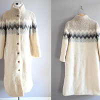 ICELAND natural cream ivory colour pure wool high neck button up long coat medium large