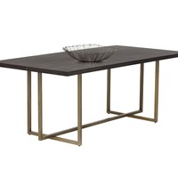 """JANE ACACIA WOOD VENEER WITH ANTIQUE BRASS BASE DINING TABLE 79"""""""
